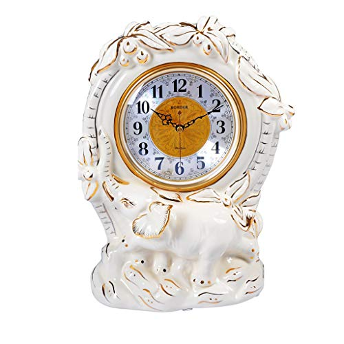 Tingting1992 Alarm Clock Table Clock Living Room Large Ceramic Clock Home Clock Desktop Ornaments Desktop Silent European Luxury Table Clock White Gold Desk Clock (Color : A)