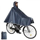 Anyoo Imperméable à l'eau Cyclisme Capes Portable Léger Pluie Poncho Vélo Vélo Compact Réutilisable Unisexe pour Randonnée Camping en Plein Air,Gris