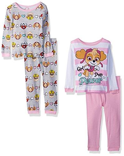 Nickelodeon Conjunto de Pijama de 4 Piezas de algodón Paw Patrol para bebé, Poder Rosa, 18 Meses