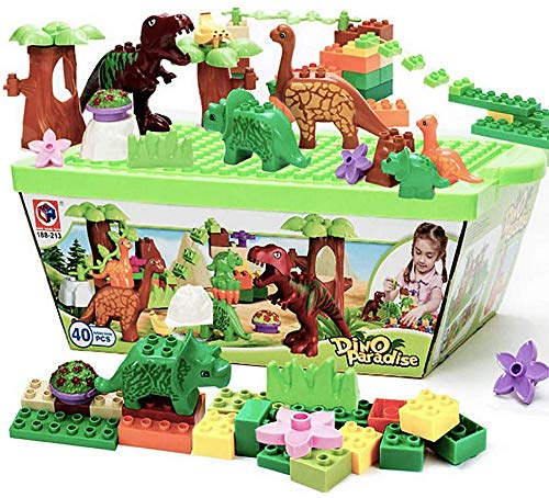 HYLL Sue-Supply 40 Piece Dinosaur Blocks Toy Building Blocks Plastic Kids Toys Jurassic Construction Toys,Entertaining And Educational Blocks Toys Set