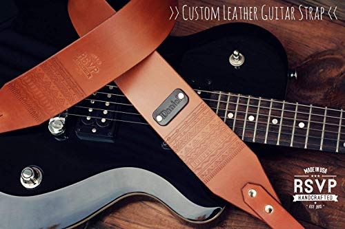 Custom Leather Guitar Strap, Acoustic, Electric, Bass, Dobro, Banjo, Adjustable, Handmade personalized gift.Hipster, Aztec, Customize name, initials -  RSVPhandcrafted