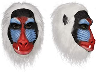 Demi Sharky Deluxe Mandrill Costume Mask Latex Halloween Costume Animal Masks Chimp Monkey Head Mask