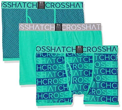 Crosshatch Grazer Boxed Ch 3 PK Boxers Bóxer, Turquesa (Atlantis Atlantis), Small para Hombre
