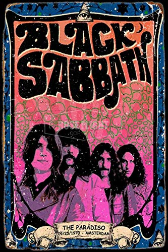 Black Sabbath Tin/Metal Style Street Poster for Men Women Sign Garage Decor for Club Bar Diner Family Farmhouse Outdoor Decoration, 8x12 Inche