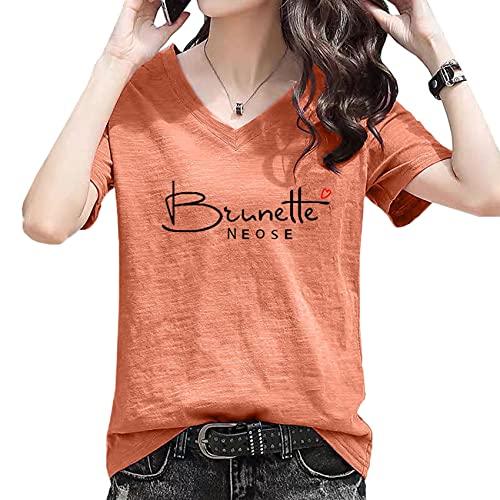 Camiseta de Manga Corta de algodón Flameado con Cuello en V para Mujer, Verano, Camiseta Suelta de Media Manga, Camiseta de Fondo