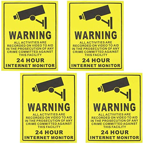 Video Surveillance Sticker, 4 Packs Sign Decal Camera Alarm Systeem Stickers Lijm 24 uur Beveiliging Waarschuwingsborden, 200 x 250mm