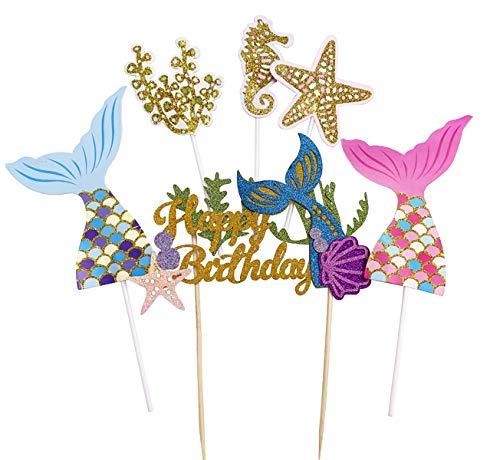 Glitter Mermaid Cake Topper 6Pcs/Set, Happy Birthday Cake Picks Mermaid Cake Decoration for Mermaid Baby Shower Birthday Party Supplies