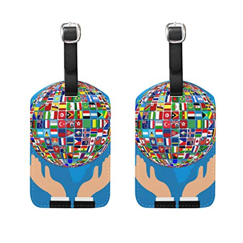 LORONA World Flag Hands Globe Luggage Tags Strings Travel ID Label for Suitcase Carry-on Baggage, Set of 2