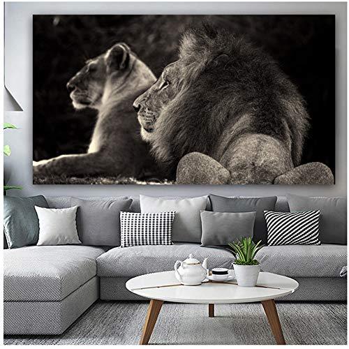 Cuadro en lienzo negro y blanco león póster e impresiones