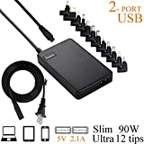 LVSUN Universal Laptop Charger 90W 12-24V One for All - Slim AC Adapter Power Supply Cord with Dual USB Ports for Mobile/Tablet - Compatible with Lenovo HP Toshiba Samsung Acer Asus and Most Notebooks