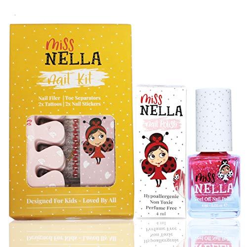 Miss Nella NAGELKIT & NAGELLACK- Zubehörset für Kinder + Miss Nella abziehbarer Nagellack, Nagelaufkleber, Tattoos, Nagelfeile und Zehenspreizer- speziell gefertigt für Kinderhände,- und Füße.