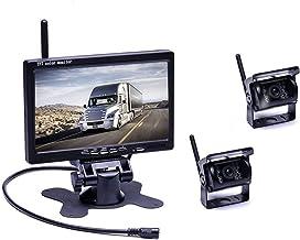 podofo Kabellos Rückfahrkamera, Funk Einparkhilfe mit 7 LCD-Monitor 18 IR LEDs Nachtsicht Wasserdicht IP67 Drahtlos AutoKamera für Anhänger, Bus, LKW, Pferdeanhänger, Schulbus