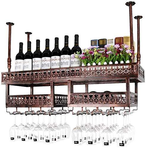 Estantería de vino Tenedor de copa de vino, colgante de vino con soporte de copa de vino Metal Stemware Rack EUROPEO Iron Art Ajustable Altura ajustable para bares Restaurantes Cocinas, Negro, 120 * 3