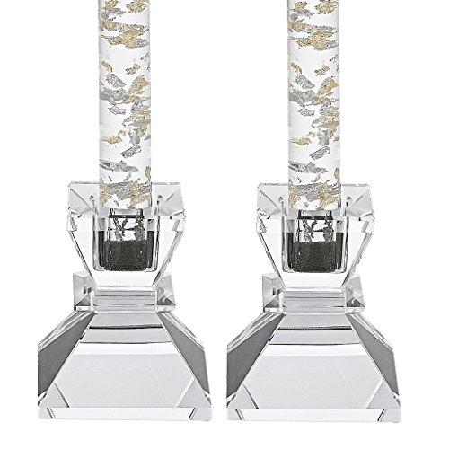 """Badash - Saturn Pair of 2.75"""" Crystal Candle Holders"""