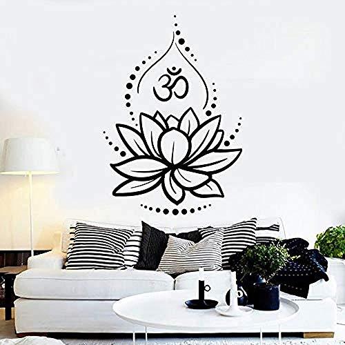 Flor de Loto Yoga Hinduismo Hindú Om Símbolo Vinilo Tatuajes de Pared Decoración para el hogar Sala de Arte Mural Pegatinas de Pared Extraíbles 58x80 cm