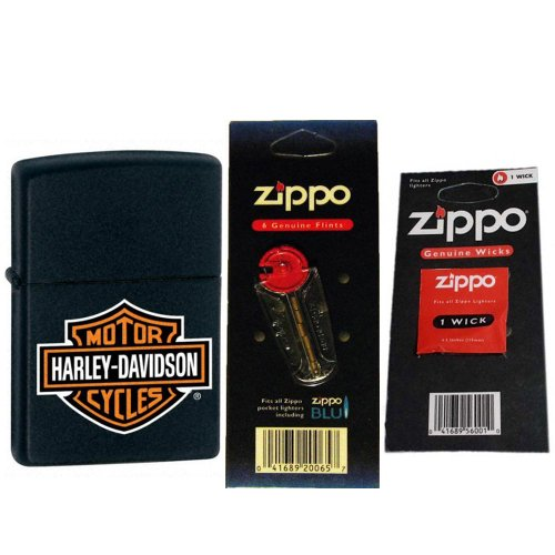 Zippo Black Matte Classic Lighter - Harley Davidson