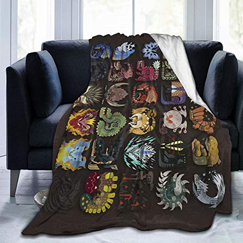 Monster Hunter Blanket Fuzzy Luxury Throw Warm and Cozy Flannel Bed Blanket for Sofa Travel Yoga Camping Picnic Cinema Home Beach Sized for Nursery Kids Adults 60'X50'