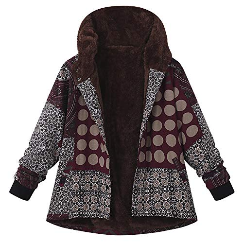 OverDose Damen Winterjacke Windbreaker Wärmemantel Plus Size Damen Kapuzen Causal Slim Soft Langarm Vintage Damen Fleece Dick Coats Zipper Coat(Weinrot,50 DE / 3XL CN )