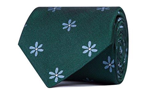Sologemelos - Cravate Fleurs - Vert 100% soie naturelle - Hommes - Taille Unique - Confection artesanale Made In Italy