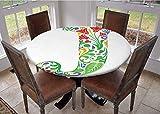 Mantel con bordes elásticos, 100% poliéster, cuadrado, diseño de letra I, estilo fresa con hojas verdes, veganas, bermellón y naranja