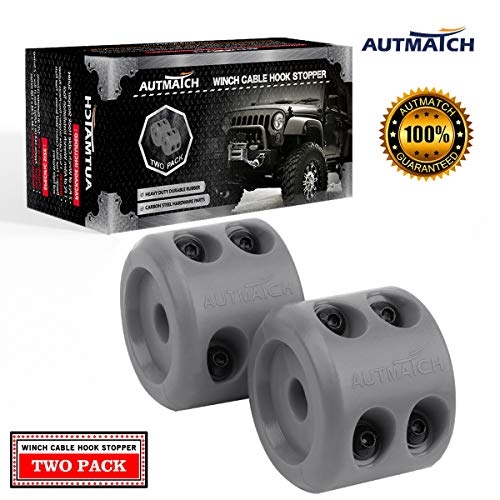 AUTMATCH Winch Cable Hook Stopper (2 Pack) Silicone Rubber Shock Absorbent Winch Stopper Best Winch Accessories for Wire & Synthetic Cables ATV UTV Prevent Pulling Eliminate Abrasion Bouncing Gray