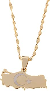Stainless Steel Turkey Map Pendant Necklace Women Turkish Flag 18K Gold Plated Jewelry
