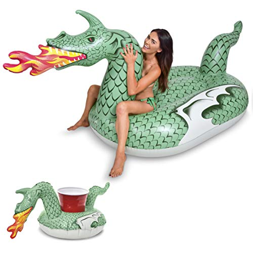 GoFloats Giant Inflatable Fire Dragon   Includes Bonus Fire Dragon Drink Float   New for 2018