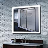 MAVISEVER 36x36 Inch LED Lighted Bathroom Wall Mounted Mirror, CRI 95+ & 6500K Light, Anti Fog, ETL Certification & IP44 Waterproof, Smart Touch Button, Wall Mounted Vertical & Horizontal, Halo