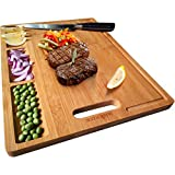Large Organic Bamboo Cutting Board For Kitchen, With 3 Built-In Compartments And Juice Grooves, Heavy Duty...