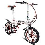 DJYD 16 Zoll Falträder, Männer Frauen Students 6-Gang Doppelscheibenbremse faltbares Fahrrad, Aluminiumlegierung leichte, tragbare Fahrrad, Schwarz FDWFN (Color : White)