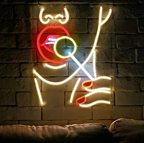 DKZ Neon-Kunst-Wanddekoration Leuchtet Viele Farben Lollipop-Taschen-Mund-Damen-Leuchtende Dekoration Transparentes Acryl, Verwendet Für Wanddekoration