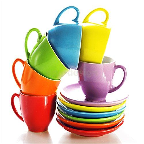 Sticker Cuisine Lave Vaisselle Tasses de Couleurs 60x60cm SLV1207 (Fond Blanc)