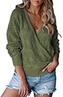 MEROKEETY Womens Deep V Neck Wrap Sweaters Long Sleeve Crochet Knit Pullover Tops Navy Medium