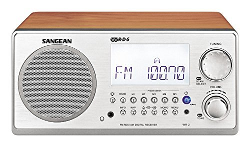 Sangean All in One AM/FM Alarm Clock Radio with Large Easy to Read Backlit LCD Display (Walnut)