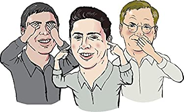 Gifts Delight Laminated 40x24 inches Poster: Man Persons Guys Group Google Larry Page Page Eric Schmidt Eric Schmidt Sergey Brin Blind Dumb Deaf Caricature Funny Cartoon