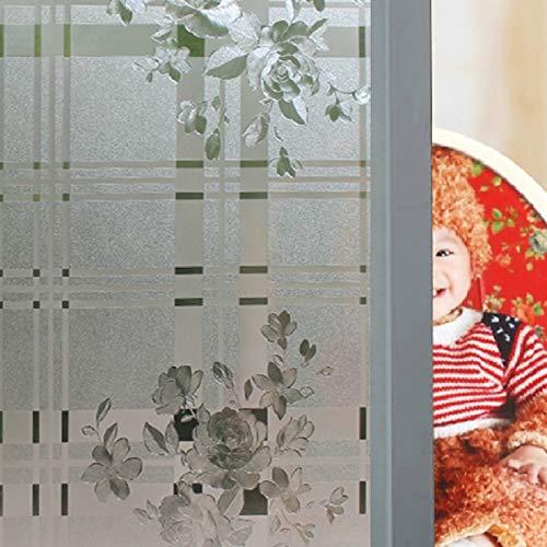 LMKJ Electrostatic Glass Sticker Peony Pattern Privacy Protection Decoration Window Film For Door Window Table Cabinet B45 50x200cm