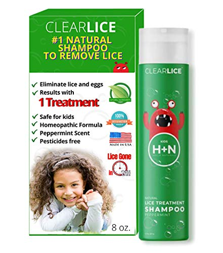 ClearLice Head Lice Treatment Shampoo - Natural and Effective One Day Treatment - Get Rid of Lice, Super Lice & Nits (Eggs) - Essential Oils & Healthy Enzyme - Skin Friendly & SLS Free - 8 oz