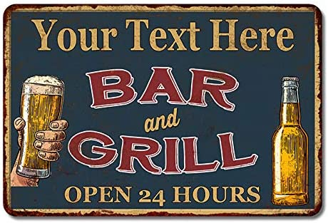 Frank/'s Bar and Grill Red Personalized Man Cave Decor Sign 106180054171
