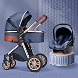 Carruaje de bebé para recién nacidos y niños pequeños, cochecito de sillas de rueda convertible, mango ajustable en altura, cochecito de bebé con cubierta de lluvia, bolso de mamá y cubierta de pie YZ