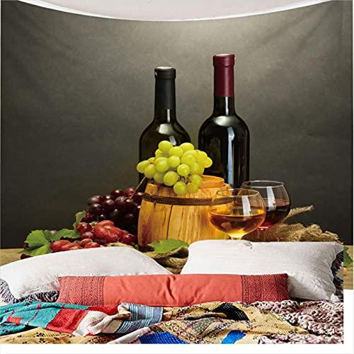 Weibing Tapiz de impresión en Color 3D Tapiz de Copa de Vino de Fruta de Vino de Estilo Moderno para la decoración del Dormitorio de la Sala de Estar 350(An) x256(H) cm