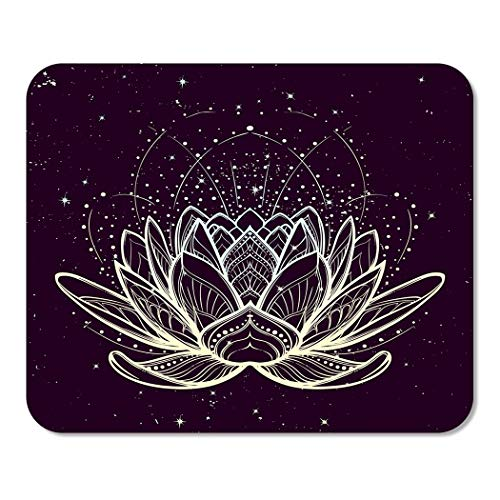 Suike Mousepad Computer Notepad Office Lotus Flower Intricate Linear Drawing on Starry Nignt Sky for Yoga Home School Game Player Computer Worker 9.5x7.9 Inch