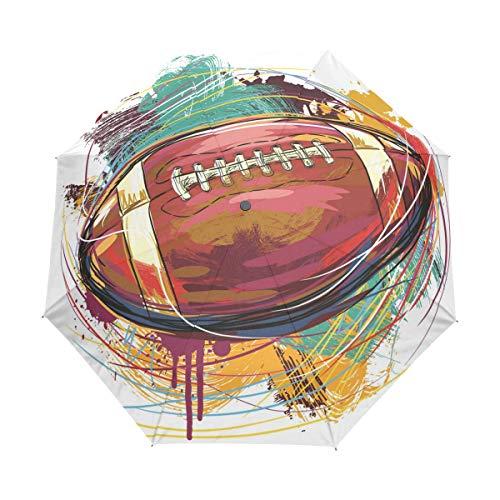 Arte Rugby Football Paraguas Plegable Hombre Automático Abrir y Cerrar Antiviento Protección UV Ligero Compacto Paraguas para Viajes Playa Mujeres Niños Niñas