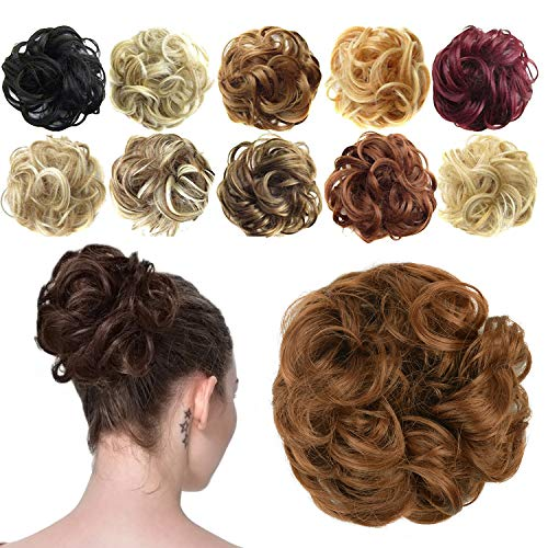 Feshfen Haargummi-Haarteil, für Haarknoten/Pferdeschwanz, Haarverlängerung, gewellt, unordentlicher Haarknoten, Dutt, Hochfrisur, Haarteil, A14 - Light Auburn 30#