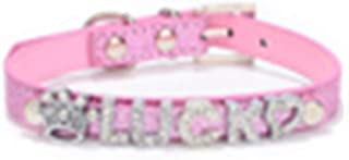 Regular Collars, Personalized Collar, Personalized DIY Name Dog Collars Bling Pet Dog Collar with Diamond Buckle Puppy Cat Letters Charms for Teddy French Bulldog