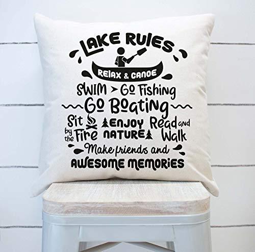 Lake Rules Funda de almohada, decoración de casa de lago, almohada de verano, decoración de verano