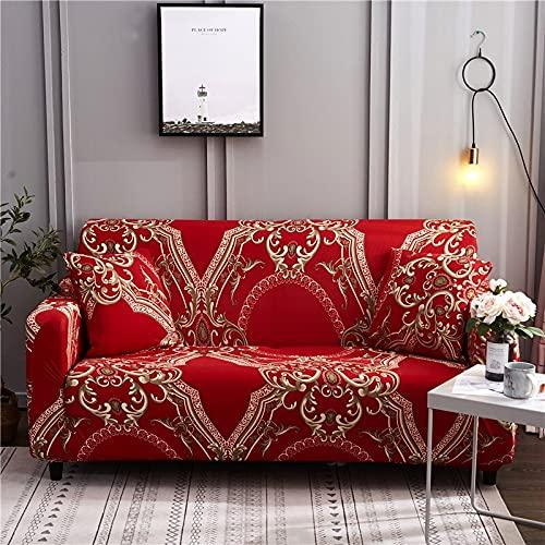 Fundas de sofá elásticas geométricas para Sala de Estar Fundas de sofá seccionales Modernas Fundas de sofá de Esquina Protector de Silla A18 3 plazas