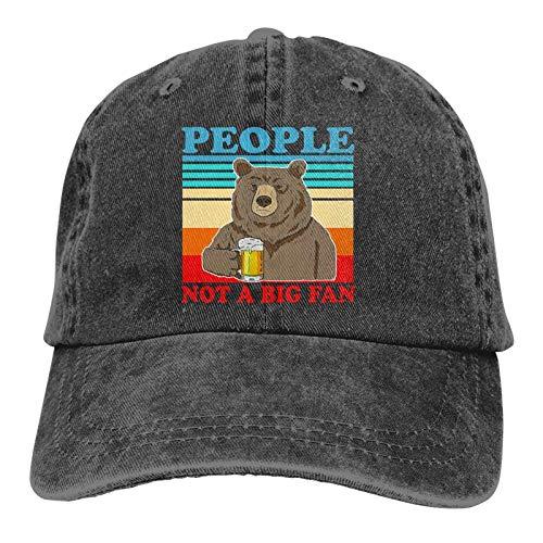Jopath People Not A Big Fan Hat, Gorra de béisbol ajustable, unisex, lavable, de algodón, para papá, color negro