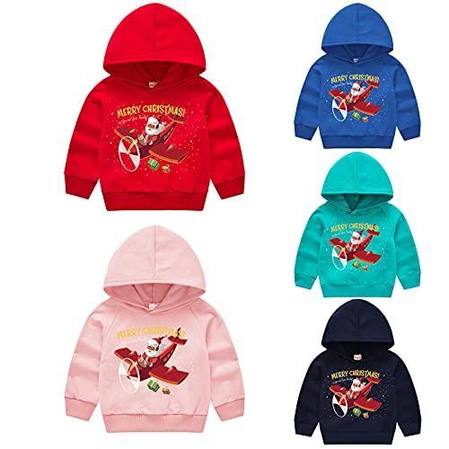 YQSR Sudadera de manga larga con capucha para bebe y nio con cuello redondo y cuello redondo para otoo e invierno, unisex, para beb, ropa de Navidad