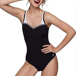 水着 レディース水着 オープンバック シャムプラスチック水着 ダイビング水着 スポーツ水着 ギャザリング腹部 ギフト 服 (Color : Black, Size : 38)