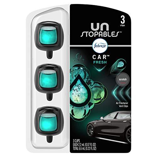 Febreze Unstopables Car Air Freshener, Odor Eliminator for Strong Odors, Vent Clip Fresh, .07 Fl Oz., 3 Count